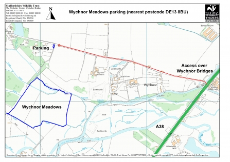 A map to show access to parking at Wychnor