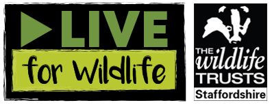 A logo for LIVE For Wildlife and Staffordshire wildlife trust