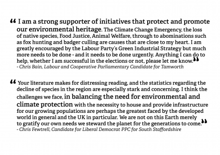 Feedback from party candidates backing SWT's call for a strong Environment act.