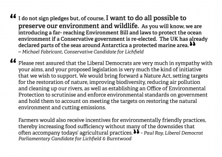 Feedback from party candidates backing SWT's call for a strong Environment act